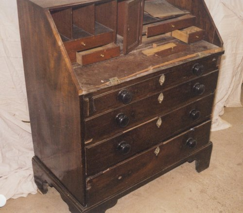 georgian mahogany bureau repair and restoration. Black Bedroom Furniture Sets. Home Design Ideas