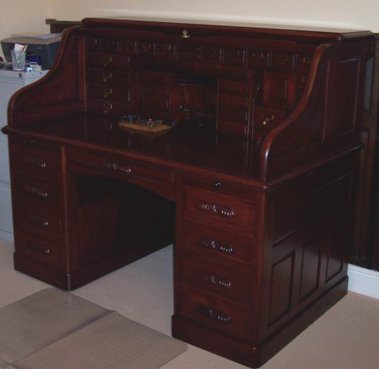 Repaired and restored roll-top desk